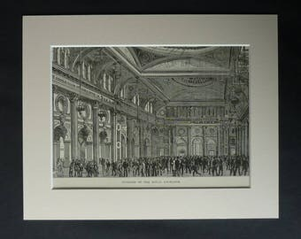 1880s Antique Mounted Lancashire Picture of the Interior of the Manchester Royal Exchange