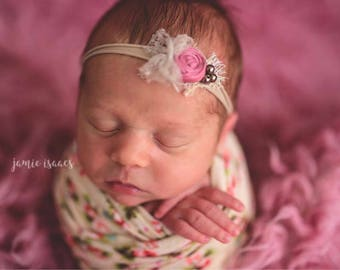 Newborn headband, Beige pink baby headband, Baby photo prop headband