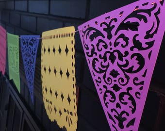 Papel picado banner/fiesta decor/paper banner/mexican fiesta decor/bunting paper