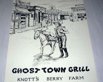 Souvenir Paper Menu from The Ghost Town Grill Restaurant Knott's Berry Farm & Ghost Town in Buena Park California, dates from the 1960's.