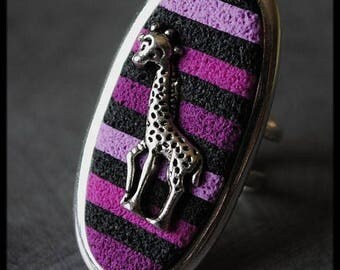 Black purple violet pink stripes and giraffe in polymer clay ring