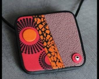 Black polymer pendant / orange / raspberry / taupe patterned
