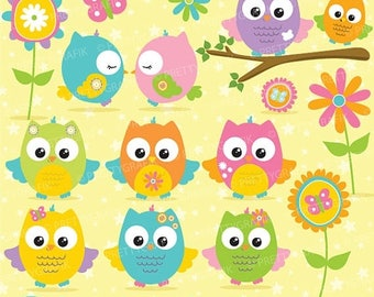 80% OFF SALE Summer owls clipart, clipart commercial use, vector graphics, digital clip art, digital images - CL672