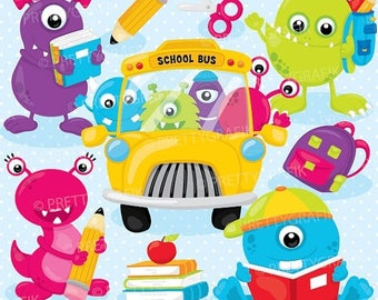 80% OFF SALE Monster school clipart, clipart commercial use, vector graphics, digital clip art, digital images - CL897