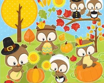 80% OFF SALE 80 Percent 0FF Sale Thanksgiving owls clipart commercial use, vector graphics, digital clip art, fall, autumn - Cl927