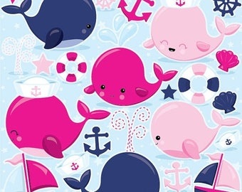 80% OFF SALE Pink Nautical Whales clipart commercial use, pink whale vector graphics, nautical digital clip art, digital images  - CL971