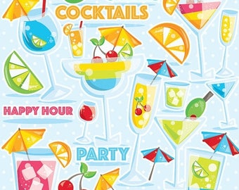 80% OFF SALE Cocktail clipart for scrapbooking, cocktail party clipart commercial use, summer party vector graphics, summer clipart CL978
