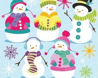 80% OFF SALE 80 Percent 0FF Sale Snowman clipart commercial use, vector graphics, digital clip art, digital images  - Cl585
