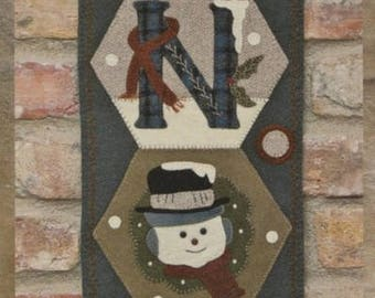 Wool Applique - Hexi Door Greeter - January - Snow - Choose Pattern Only or Pattern with Wool Kit