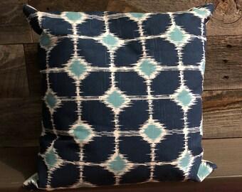 Blue tile decorative throw pillow
