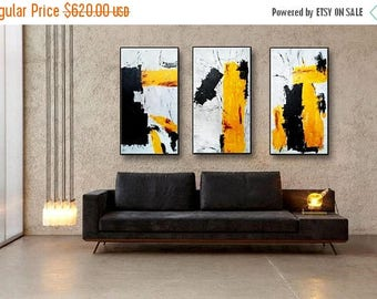 "72""x48"" Yellow Mustard Black Gray Set of 3 Original Abstract Acrylic Painting on Canvas Wall Art Home Decor UNSTRETCHED AUL828384"
