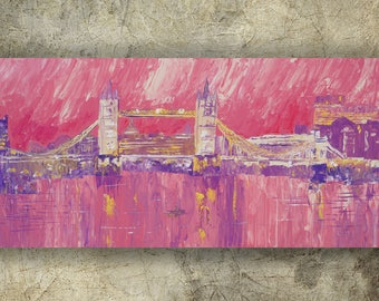 LONDON palette knife painting 60x120x4 cm Large painting S040 Thames pink decor by Ksavera