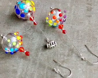 RESERVED SOLD to Gretchen! artisan handmade hollow rainbow lampwork bead, sterling silver, dangle earrings, Pendant set, lightweight jewelry