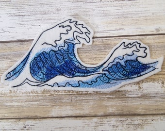Deep Blue Crashing Waves Iron On Embroidery Patch MTCoffinz - Choose Size