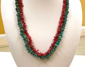 Beautiful Handmade Blue  Turquoise And Red  Coral Bead  Multi Strand Necklace !!!