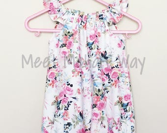 READY-TO-SHIP -- Flutter Sleeve Romper -- Floral Romper -- Snap Closure -- 6-12 Months