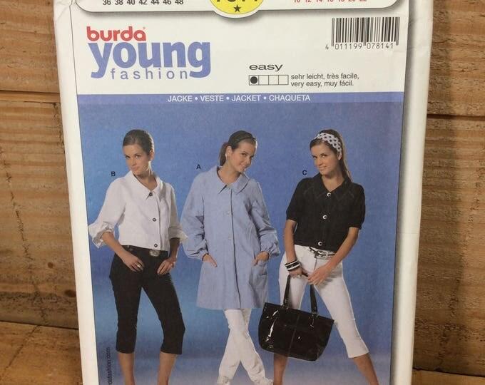 Uncut Burda Young fashion pattern, Burda 7814, 2.50 US shipping, semi fitted jacket, pattern by Verlag Aenne Burda, super jacket by Burda