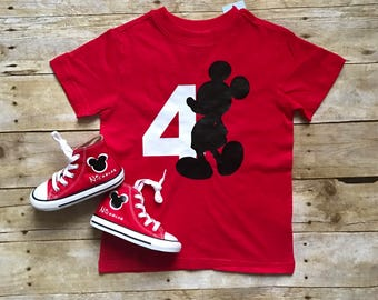 Personalized Mickey Mouse Birthday outfit, match your chucks. Birthday boy or girl and onesie, Minnie and Mickey Ears.