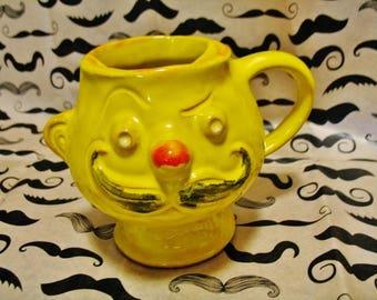 Vintage 1969 Hipster Hippie Pacific Stoneware USA Bright Yellow Mustache Mug Face Mug Coffee Mug Shaving Mug