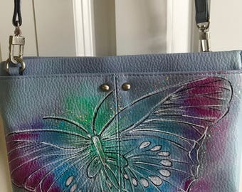 Handpainted purse- Out of the Blue