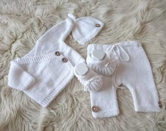 receiving outfit, newborn kimono set, newborn hospital set, Newborn boy Coming home outfit, baby kimono set, new baby gift, baby knit set,