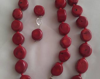 Red natural coral set - czerwone korale
