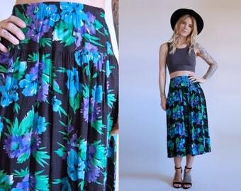 Vintage Floral Skirt Black High Waist Midi Skirt