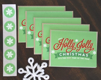 Holly Jolly Christmas Cards- Pack of Five