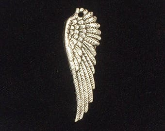 10 Pieces Large angel wing, angel wing charms, Silver wings single-sided wing charm 51x17mm 35-6-AS