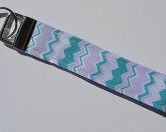 Chevron Key Fob, Striped Key Chain,  Teal and Lavender, Housewarming Gift, New Driver Gift, Chevron Key Chain