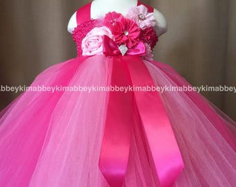 beautiful flower girl dress,birthday dress ,princess in pink and hot pink