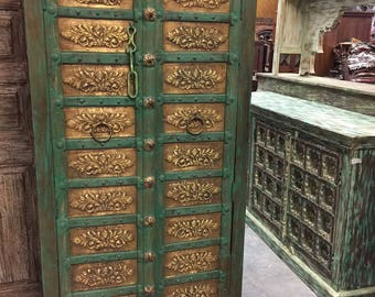 Antique Armoire Brass Floral Carved Green Patina Storage Cabinet Moroccan Eclectic Vintage Indian Furniture FREE SHIP