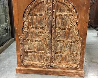 Antique Chest Furniture Haveli Rustic Red Wooden Double Door Designs Sideboard Cabinate Haveli Decor