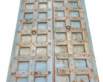 Blue Distressed Antique Iron Nailed Hand Carved Doors Teak Wood Double Door Old Haveli Decor