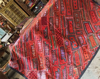 Antique Original Hand Crafted Banjara RUG Red hUES Artisan Crafted Wall Tapestry Kutch Embroidered Bohemian Throw