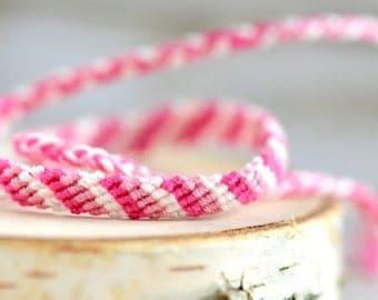 Pink Rose White Friendship Bracelet Love Bracelet  BBF Wish Bracelet Woven Bracelet Braided Bracelet Gift for Her Knotted Bracelet