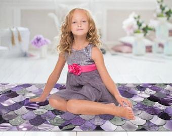 Girls Bedroom Floor Rug - Mermaid Print - Mermaid Floor Rug - 3 Sizes:  2' x 3', 3' x 5', 4' x 6'