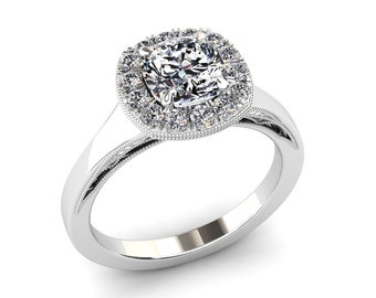Moissanite Ring Cushion Cut 1.00 Carat Forever One Moissanite Halo Engagement Ring 14k or 18k White Gold. Matching Band Available SW20MOISW