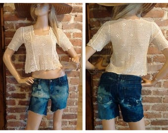 Vintage Handknit Crop Top Boho Hippie Size Small