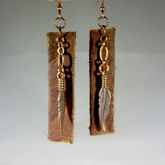 Recycled Buffalo Leather Feather Earrings