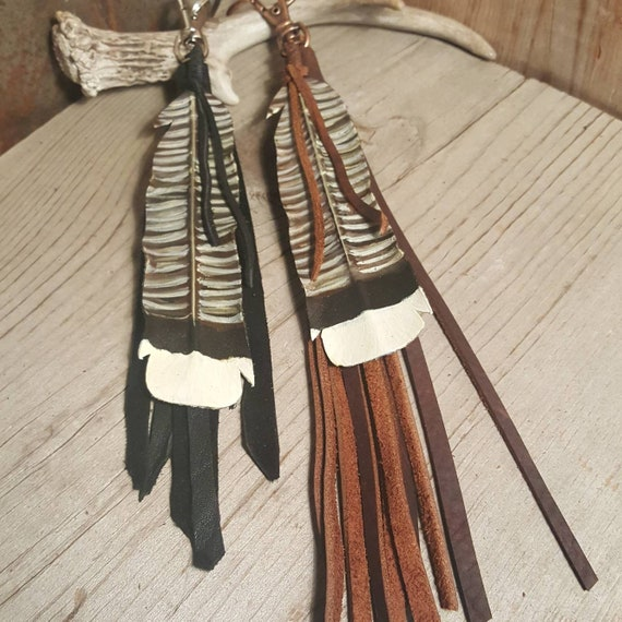 Leather Turkey Feather Key Chain