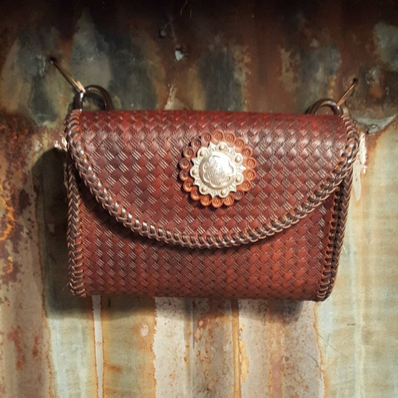 Adventure Bag with Dark Brown Basket Weave Stamped Leather