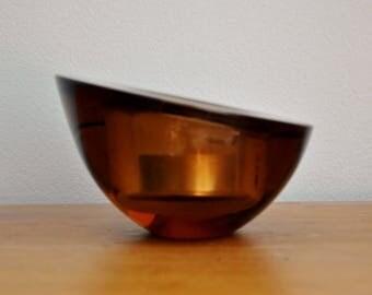 Scandinavian Modernist Amber Glass Candle Holder Orrefors Sweden Vintage
