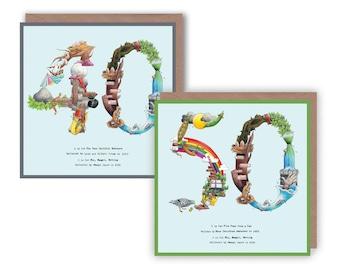 40th & 50th Birthday Card, 40th Card, 50th Card, Birthday 50 Card, Age 50 Card, Age 40 Card, Number 50 Card, 40th Anniversary Fairytale Card