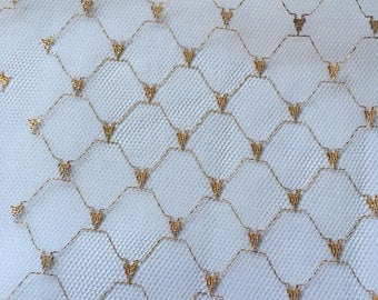 White Netting with gold hearts