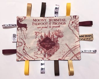 Harry Potter taggie blanket, Marauders Map taggie blanket, Harry Potter baby blanket, geeky baby gift, Marauders Map lovey blanket