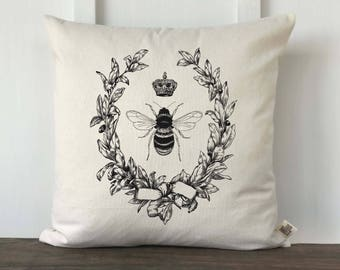 French Bee Pillow Cover, Decorative Pillow, Queen Bee Pillow Cover, Custom Pillow Cases, Couch Pillow Cover, Custom Pillow, French Decor