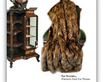 Plush  Faux Fur Throw Blanket - Medium Brown Wolf Fur - Bedspread - Luxury Fur -  Minky Cuddle Fur Lining Fur Accents USA