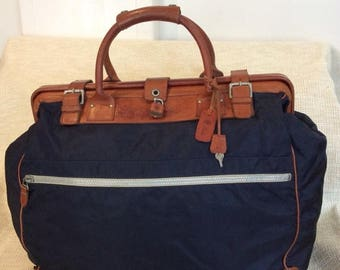 20% SUMMER SALE Genuine vintage FELISI navy canvas and leather duffle travel bag Rare
