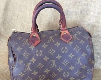 20% SUMMER SALE Vintage Louis Vuitton Malletier speedy 25 brown monogram canvas speedy satchel bag